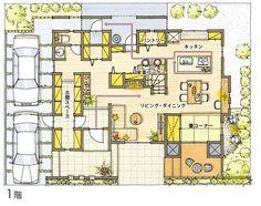 [デザイン・設計] 女性目線設計 | 構造・技術 | ハウスメーカー クレバリーホーム - cleverlyhome - Craftsman Floor Plans, Small Floor Plans, Japanese House, Architecture Plan, My Dream Home, Planer, House Plans, Layout, House Design