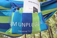 """Camping For Foodies Hammock With Attached Accessory And Carry Bag. Give yourself permission to do nothing and enjoy it … don't feel guilty in your downtime. It is important to recharge your mind and your body … you will be healthier and happier for it! We love relaxing in our Camping For Foodies """"I'm Unplugging"""" hammock with attached accessory and carry bag, check out the cool features in this video!"""