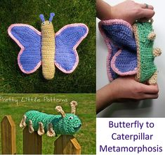 Caterpillar to Butterfly Metamorphosis (Topsy Turvy Reversible Toy) pattern by Stephanie Renee