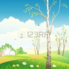 Vector Illustration Of A Spring Landscape With A Birch Tree ...