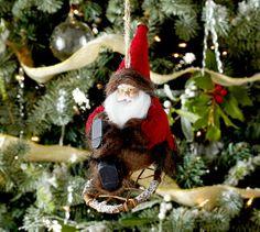 Santa on Sleigh Ornament   Pottery Barn