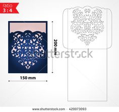 Vector laser cut wedding invitation envelope. Folded wedding invitation…