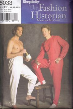 Simplicity 5033 Long Johns Mens Civil War Underwear Historical Costume Sewing Pattern Size  46 48 50 52 op Etsy, 12,08€