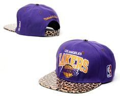 NBA Los Angeles Lakers Snapback Hats Purple Yellow Mitchell And Ness Leopard 2609! Only $8.90USD