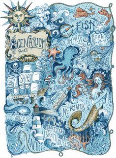 Ocenarium Art Print by Biljana Kroll. Nautical art for sea lovers! Illustrations, Illustration Art, Mermaid Illustration, Painting & Drawing, Kalender Design, Nautical Art, Vintage Nautical, Nautical Drawing, Mermaids And Mermen
