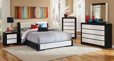 This impressive Kimball Bedroom Set by Coaster Furniture offers a new look. With each piece upholstered in black and white man-made leather, this set puts a mod twist on contemporary decor. Ample storage is provided throughout the set, with finger pull dr Boys Bedroom Paint, Master Bedroom Set, Kids Bedroom Sets, Queen Bedroom, Bedroom Paint Colors, Modern Bedroom, Bedroom Ideas, Bedroom Decor, Upholstered Bedroom Set