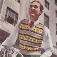 Vintage Fair isle designs- mens  1940s vintage fair isle design jumper knitting pattern pdf