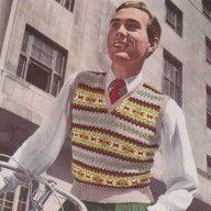 Vintage Fair isle designs- mens  1940s vintage fair isle design jumper knitting pattern pdf