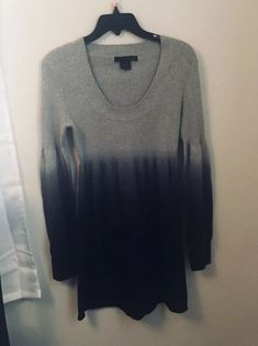 87732d6c8fc CALVIN KLEIN Gray LONG SLEEVE Two Tone Knee Length OMBRE SWEATER DRESS sz