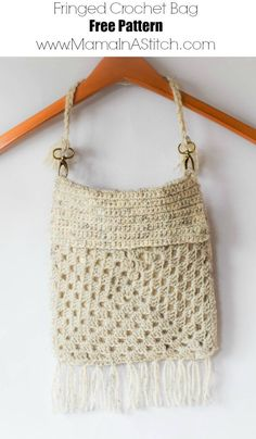 Boho Fringe Granny Square Crochet Purse via @MamaInAStitch Free crochet pattern for a modern, boho, granny square purse #crochetpurse #freepattern #mamainastitch