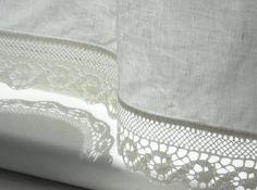 Linen bathroom curtains with wave lace edge trim by cikucakuu
