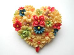 VINTAGE CARVED CELLULOID HEART HAND PAINTED PIN