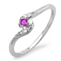 Share for $20 off your purchase of $100 or more! 0.08 Carat (ctw) 14k White Gold Round White Diamond & Pink Sapphire Ladies Bridal Engagement Ring 1/10 CT - Dazzling Rock #https://www.pinterest.com/dazzlingrock/