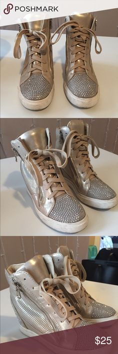 Bedazzled sneaker heels! One of a kind bedazzled sneaker heels! Purchased in Italy! Size 7 Shoes Sneakers