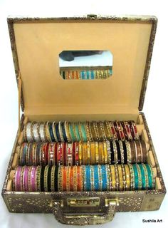 Indian Metal Sari Bangles Bracelet jewelry Storage Box & 3 Roll Indian Bangles Box/ Storage Case/ Display Holder | AYK World ...