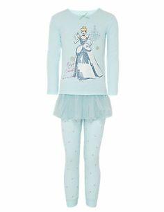 Pale Blue Mix Pure Cotton Disney Princess Tutu Skirt & Pyjamas