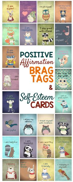 Positive Affirmation Brag Tags & Self-Esteem Cards: Teaching Positive Self-Talk A damaged self-esteem can wreck your career and harm your relationships. You can turn your life around by working on your self-esteem, and this guide will give you all the re Coping Skills, Social Skills, Social Work, Positive Self Talk, Positive Affirmations For Kids, Self Esteem Affirmations, Positive Feedback, Positive Quotes, Brag Tags