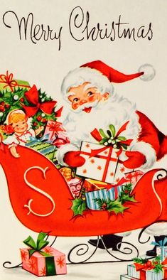Retro Santa. Santa & Sleigh. Santa & Gifts. Merry Christmas. Vintage Christmas Card. Retro Christmas Card. Old Time Christmas, Christmas Card Images, Vintage Christmas Images, Christmas Graphics, Merry Christmas Card, Old Fashioned Christmas, Christmas Scenes, Retro Christmas, Vintage Holiday