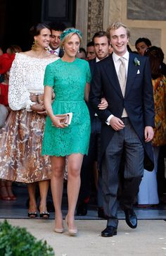 Wedding Of Prince Amedeo Of Belgium And Elisabetta Maria Rosboch Von Wolkenstein:  groom's sister Maria Laura in too-short teal lace and groom's brother Pr Joachim, followed by Ctss Margherita v Arco-Zinneberg, groom's cousin.