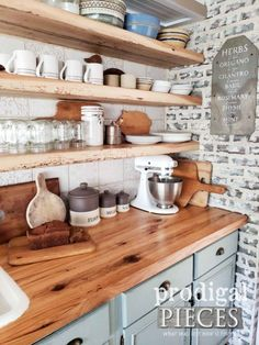 Farmhouse Kitchen Canisters DIY Style - Prodigal Pieces Old World Farmhouse Style Kitchen with Reclaimed Wood Countertops by Larissa of Prodigal Pieces Farmhouse Kitchen Canisters, Farmhouse Style Kitchen, Modern Farmhouse Kitchens, Home Kitchens, Vintage Farmhouse, Farmhouse Decor, Primitive Kitchen, Kitchen Wood, Kitchen With Wood Countertops