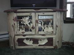 Timber Ranch Logworks Carved Moose Entertainment Center