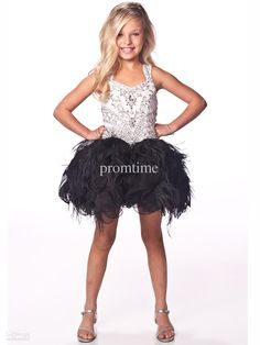 White and Black Beads Crystal Kids Dresses