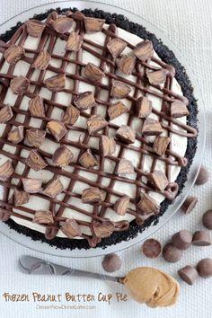 Frozen Peanut Butter Cup Pie   Dessert Now Dinner Later. #peanutbuttercup @dessertnowblog