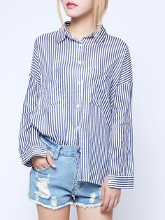 Sexy batwing and stripes, $30 #ButtonDownShirt #fashion