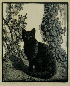 Sir Lionel Lindsay (1874-1961) - The black cat, 1922 - Woodcut