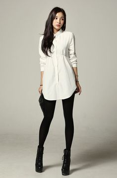 I want to try shirt dress and leggings next week. Can someone please tell me how to wear a shirt dress with leggings, please. Korean Fashion Online, Asian Fashion, Latest Fashion For Women, Look Fashion, Fashion Beauty, Womens Fashion, Street Fashion, Korea Fashion, Fashion Edgy