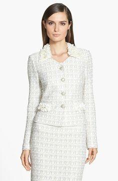 John Collection Embellished Plaid Knit Jacket available at Fashion Line, Girl Fashion, Fashion Dresses, Womens Fashion, Fashion Design, Office Outfits, Chic Outfits, Suits For Women, Jackets For Women