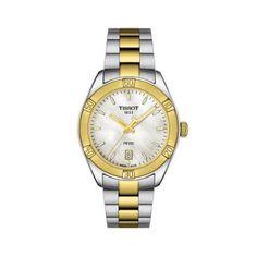 Montre Tissot T-Classic PR 100 Sport Chic Lady quartz cadran nacre bracelet acier bicolore 36 mm Sport Chic, Stainless Steel Watch, Stainless Steel Bracelet, Toned Women, Station Necklace, Gold Watch, Bracelet Watch, Quartz, Watches