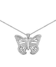 0.32-tw Diamond & Sterling Silver Butterfly Pendant Necklace by JewelzDirect #zulily #zulilyfinds