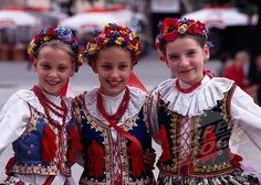 Polish children in folk costumes