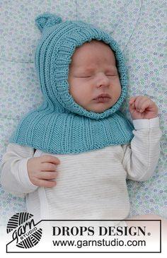 Baby Boy Knitting Patterns, Baby Patterns, Free Knitting, Baby Knitting, Knitted Balaclava, Knitted Hats, Crochet Baby Hats, Knit Crochet, Drops Design