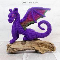 3D crochet soft sculpture collectable purple sparkly dragon. Crochet dragon. £49.00 Crochet Monsters, Handcrafted Gifts, Handmade Items, Crochet Dragon, Dragon Eye, Soft Sculpture, Beautiful Gifts, Handmade Decorations, Hand Crochet