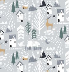 Winter pattern / surface design illustration with houses and deer in the snow. Wintermuster- / Oberflächendesignillustration mit Häusern und Rotwild im Schnee. Illustration Noel, Winter Illustration, Pattern Illustration, Illustrations, Christmas Illustration Design, Natural Christmas, Christmas Design, Christmas Tree, Christmas 2019