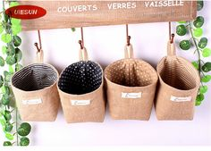 ZAKKA Style Striped and Dot Home Organizer Storage Bags Linen Pastoral Wall Decorating Hanging Pocket Bag UIE628