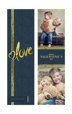 Valentine's Day Bookmark Template: Hand Drawn Gold Foil Accent