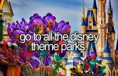 Visit all 6 Disney Parks 1. Disneyland - Check! 2. Walt Disney World - Check! 3. Disneyland Paris 4. Tokyo Disney 5. Hong Kong Disneyland 6. Shanghai Disney - Scheduled to open December 2015