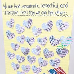 Our #inaugurationday activity during morning meeting on Friday was heartwarming...this anchor chart is a keeper!