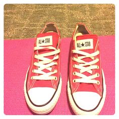 Only wore twice, too tight. Size 5 in guys Red classic low top chucks. Very clean, great condition!! Size 5 in guys, size 7 ½ in girls. Shoes