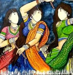 Buy Raas artwork number a famous painting by an Indian Artist Mrinal Dutt. Indian Art Ideas offer contemporary and modern art at reasonable price. Indian Artwork, Indian Folk Art, Indian Art Paintings, Indian Artist, Acrylic Paintings, Watercolor Paintings, Rajasthani Painting, Rajasthani Art, Composition Painting