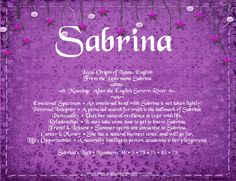 The meaning of the name - Sabrina