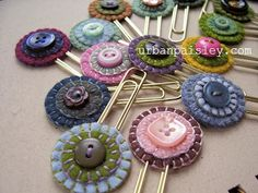 button bookmarks on paper clips. could also put on bobby pins as cute hair clips