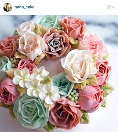 Korea 3D flower buttercream cake