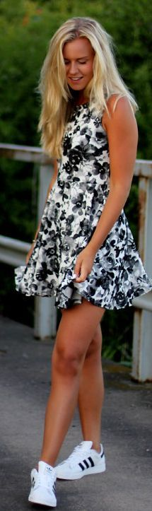 Ax Paris Black And White Floral Skater Dress by Fanny Staaf and Adidas