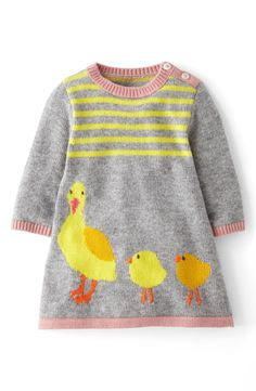 Free shipping and returns on Mini Boden 'My Baby' Knit Dress (Baby Girls) at Nordstrom.com. A mother and her babies bring an adorable touch to a cotton-blend knit dress softened with a kiss of cashmere.