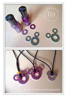 Mickey Necklace - washers and shoe nail polish