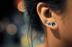 Ocean blues rhinestone earring pins/cuffs - Swarovski elements